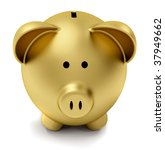 Golden Piggy Bank Isolated Ove...