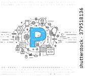 alphabet letter p. flat style ... | Shutterstock .eps vector #379518136
