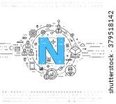 alphabet letter n. flat style ... | Shutterstock .eps vector #379518142