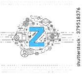 alphabet letter z. flat style ... | Shutterstock .eps vector #379518376
