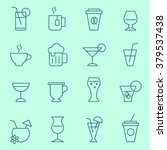 drink icon set  thin line  flat ... | Shutterstock .eps vector #379537438