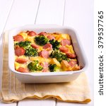 broccoli and sausage bake in a... | Shutterstock . vector #379537765