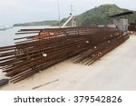 Reinforcement bar , with temporary rust for column of bridge - stock photo