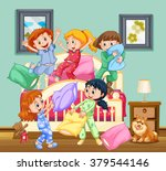 children at the slumber party... | Shutterstock .eps vector #379544146