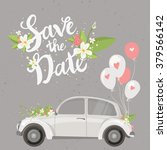 save the date lettering card... | Shutterstock .eps vector #379566142