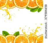 banner with fresh oranges and... | Shutterstock .eps vector #379584658