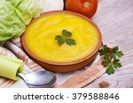 clay plate with soup and... | Shutterstock . vector #379588846