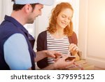 view of a delivery man handing... | Shutterstock . vector #379595125
