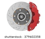 brake disc and red calliper... | Shutterstock . vector #379602358