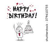 joe and a big birthday cake... | Shutterstock .eps vector #379610755