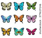 set of colorful butterflies | Shutterstock .eps vector #379619146