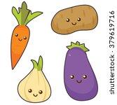 vector set of 4 cute vegetables   Shutterstock .eps vector #379619716