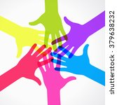 circle of colorful silhouettes... | Shutterstock .eps vector #379638232