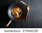 fajitas with chicken in a pan | Shutterstock . vector #379640158