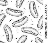 vector seamless vintage hot dog ...   Shutterstock .eps vector #379655572