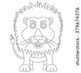 coloring cute lion cartoon on... | Shutterstock . vector #379674376