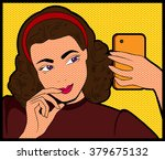 woman doing selfie by the... | Shutterstock .eps vector #379675132