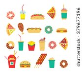 fast food set. vector fast food ... | Shutterstock .eps vector #379677196