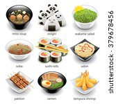 Japan Food Icons Detailed Phot...