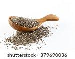 chia seeds in wooden spoon  ... | Shutterstock . vector #379690036