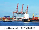 tugboat assisting container... | Shutterstock . vector #379702306