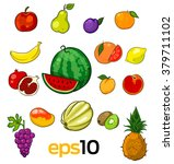 set of vector sketch fruits on... | Shutterstock .eps vector #379711102