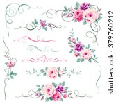 set of floral calligraphic... | Shutterstock .eps vector #379760212
