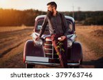 brutal bearded man with a... | Shutterstock . vector #379763746