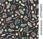 seamless floral pattern on dark ... | Shutterstock .eps vector #379766092