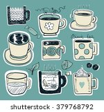 hand draw funny sketch tea and... | Shutterstock .eps vector #379768792