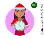 indian woman holding clock   Shutterstock .eps vector #379772788