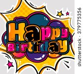 birthday card in style comic...   Shutterstock .eps vector #379775356