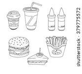 set of cartoon fast food meal... | Shutterstock .eps vector #379775572