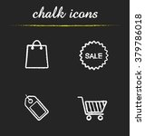 shopping chalk icons set. round ...