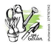 hand drawn watering can  garden ... | Shutterstock .eps vector #379787542