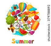 background with stylized summer ... | Shutterstock .eps vector #379788892
