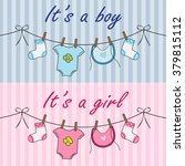 announcement cards with baby... | Shutterstock .eps vector #379815112