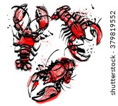 vector watercolor set lobsters | Shutterstock .eps vector #379819552