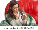 young sick woman in scarf and...   Shutterstock . vector #379826752