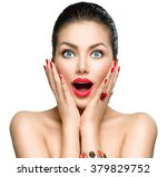beauty fashion surprised woman... | Shutterstock . vector #379829752