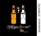 two bottles of beer as engaged... | Shutterstock .eps vector #379849792