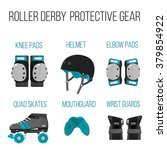 vector set of roller derby... | Shutterstock .eps vector #379854922