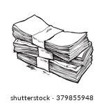Stack Of Money. Hand Drawn...