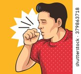 coughing man. vector flat... | Shutterstock .eps vector #379863718