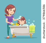 mother wash her daughter.... | Shutterstock .eps vector #379866586