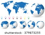 set of globes with different... | Shutterstock .eps vector #379873255