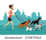 Stock vector cartoon man running with his dogs vector flat illustration 379875562