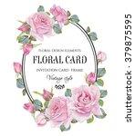 vintage floral greeting card... | Shutterstock . vector #379875595