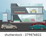 Car Showroom. Vector Flat...
