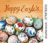 realistic easter eggs and... | Shutterstock .eps vector #379878352